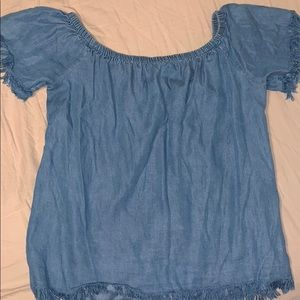 Francesca's Collections Denim Off-Shoulder Shirt